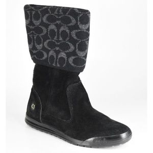Coach TATUM Signature Black Suede Fold Over Boots